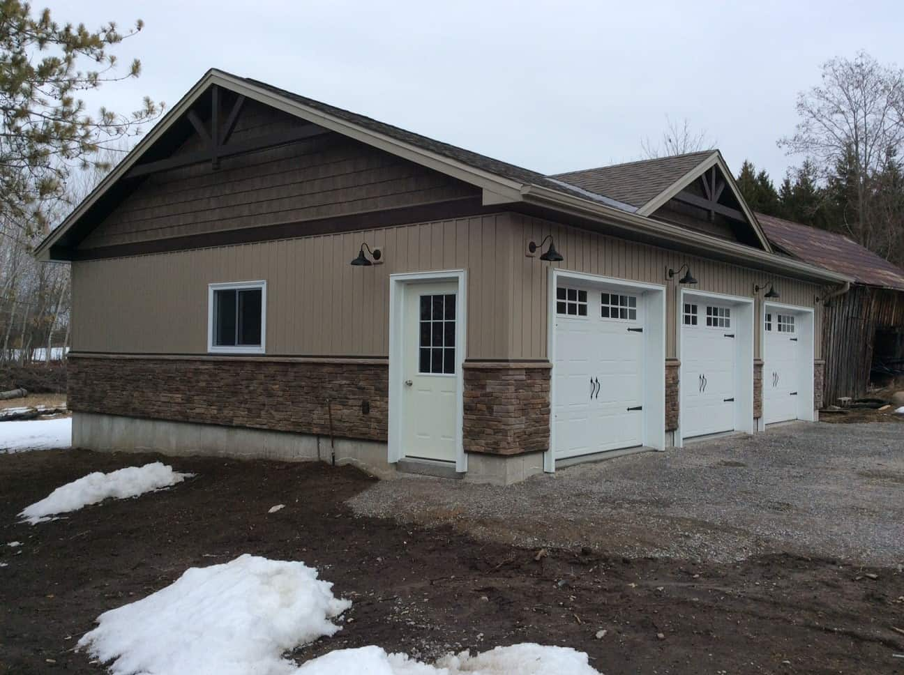 Triple Car Garage with Timberframe Accent built by KB Prefab